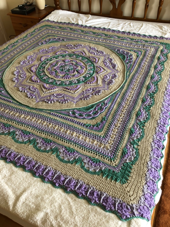 The Lost Garden blanket laid out and blocked